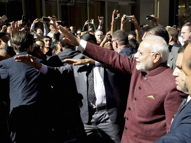 Prime-Minister-Narendra-Modi-greets-people-outside-his-hotel-upon-his-arrival-in-New-York-PTI-Photo