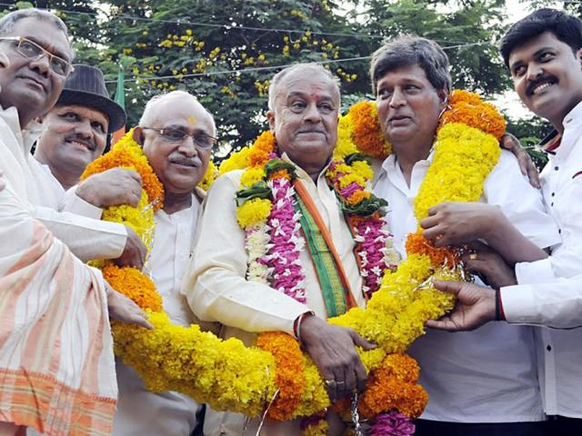 MP-BJP-president-Nandkumar-Singh-Chouhan-being-felicitated-by-city-BJP-unit-at-Gandhi-Hall-in-Indore-on-Saturday-Arun-Mondhe-HT-photo