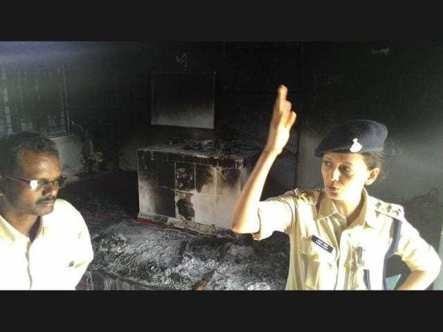 The-blackened-walls-of-Billiards-Church-which-was-set-on-fire-by-unidentified-people-in-Mandla-district-on-Saturday-HT-photo