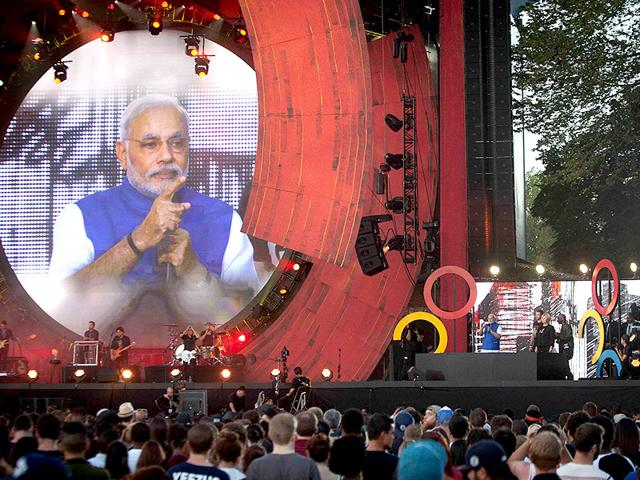 Prime-Minster-Narendra-Modi-appears-on-screen-as-he-speaks-on-stage-during-the-Global-Citizen-Festival-concert-in-Central-Park-in-New-York-Reuters