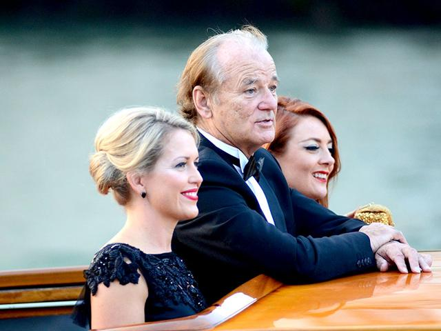 Actor Bill Murray cruises Canal Grande as he goes to George Clooney