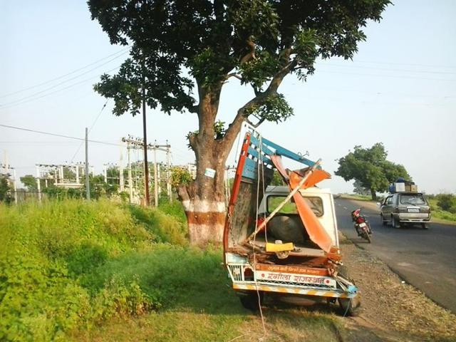 The-site-where-the-accident-took-place-on-Monday-HT-photo