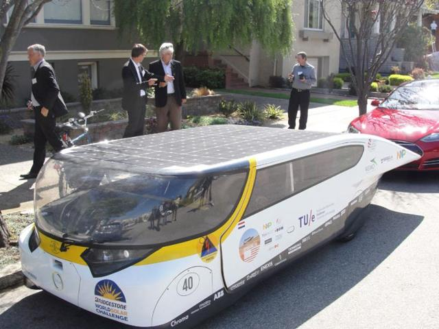 Solar-powered family car Stella rides California coast,Los Angeles to San Francisco,Stella