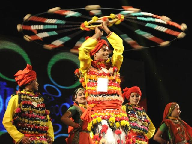 Dancers perform at a cultural event organised for guests who came to Indore to attend Global Investors' Summit. (Amit K Jaiswal/HT photo)