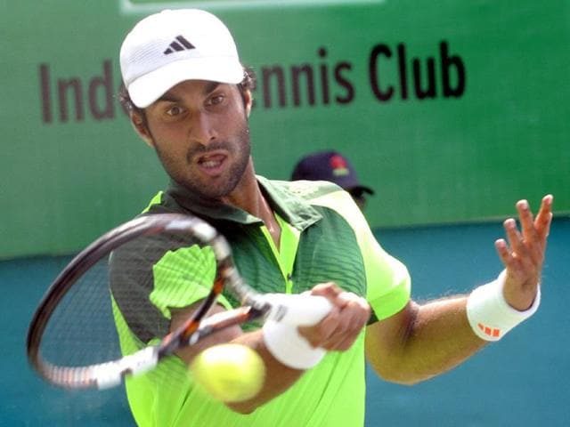 India-s-Yuki-Bhambri-plays-against-his-compatriot-Ronit-Singh-Bisht-on-the-second-day-of-Indore-Open-ATP-Challenger-tennis-tournament-on-Tuesday-Amit-K-Jaiswal-HT-photo