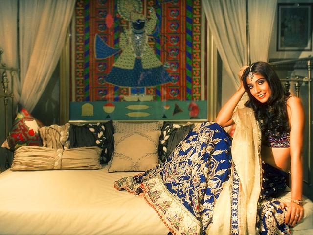 Monica Dogra, Musician/ActressThis is my first photo-shoot in traditional wear; I'm wearing a classic Indian lehenga choli by Anita Dongre, which I plan to wear this Diwali.