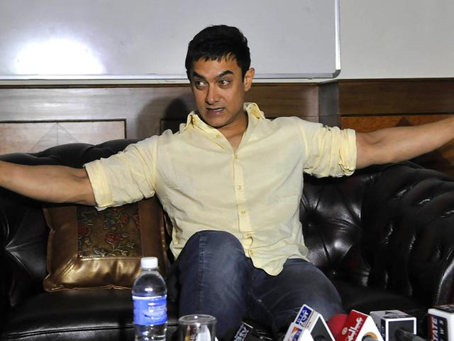 Aamir Khan at a press conference after shooting of TV show Satyamev Jayate in Bhopal. (Photo by Mujeeb Faruqui/ HT)