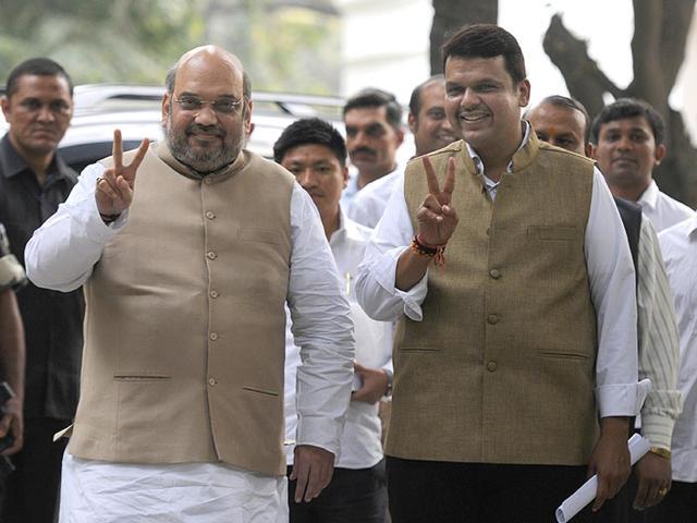 BJP-National-President-Amit-Shah-with-Maharashtra-CM-designate-Devendra-Fadnavis-during-their-meeting-at-his-residence-in-New-Delhi-Sonu-Mehta-HT-Photo