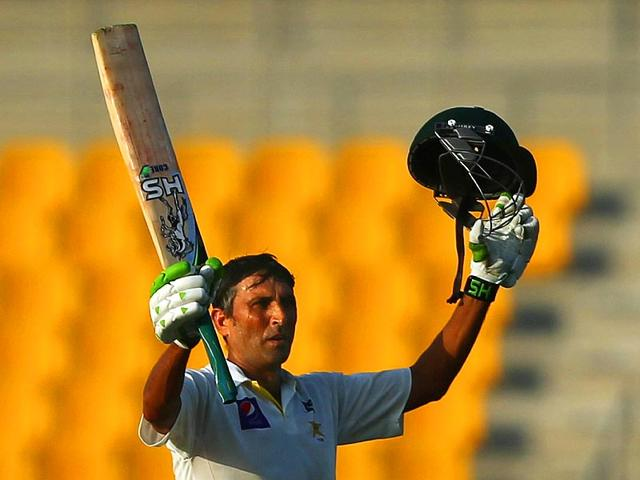 Younis-Khan-became-the-first-batsman-in-90-years-to-hit-three-hundreds-in-consecutive-innings-against-Australia-as-Pakistan-took-and-early-advantage-in-the-second-Test-in-Abu-Dhabi-on-Thursday--AFP-Photo