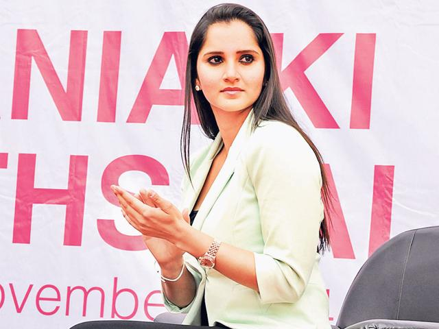 Indian tennis star Sania Mirza poses during her visit to SDPS Women's College in Indore. (Amit K Jaiswal/HT photo)