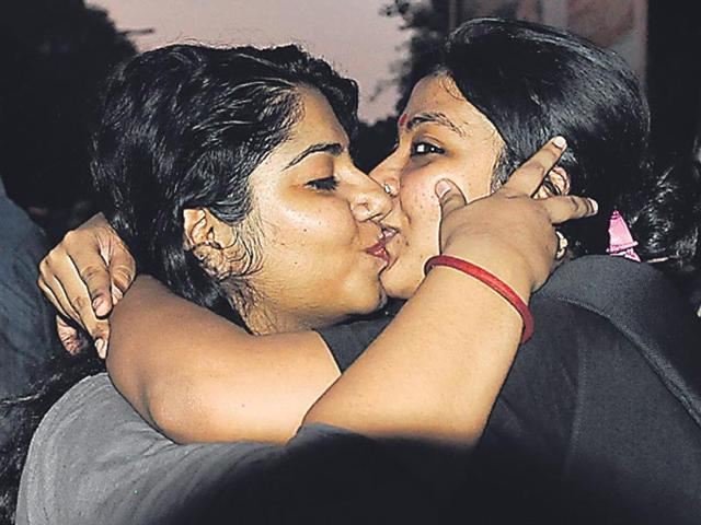 Two-women-lock-lips-near-the-RSS-office-in-Jhandewalan-as-part-of-the-Kiss-of-Love-campaign-in-Delhi-on-Saturday-Nearly-300-people-gathered-at-the-venue-to-protest-moral-policing-Mohd-Zakir-HT-Photo