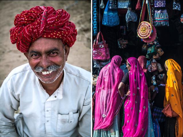 A-traditionally-dressed-visitor-at-the-Pushkar-Mela-left-women-shop-at-the-Pushkar-Mela-Abhishek-Saha-HT-Photo