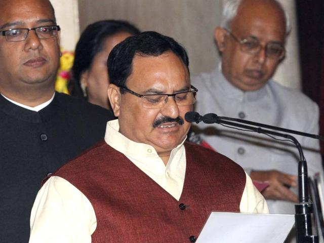 JP-Nadda-takes-oath-as-a-cabinet-minister-during-the-swearing-in-ceremony-of-the-new-cabinet-ministers-at-Rashtrapati-Bhavan-in-New-Delhi-Arvind-Yadav-HT-Photo