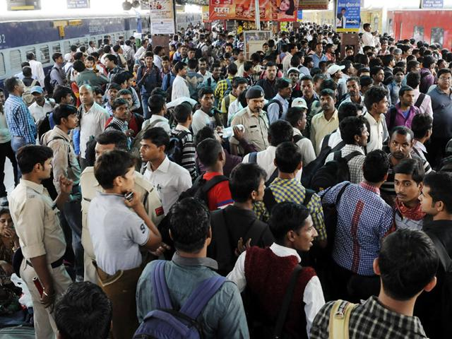 Indore-railway-station-witnessed-huge-rush-on-Sunday-as-several-candidates-arrived-in-the-city-to-take-the-railway-examination-Amit-K-Jaiswal-HT-photo