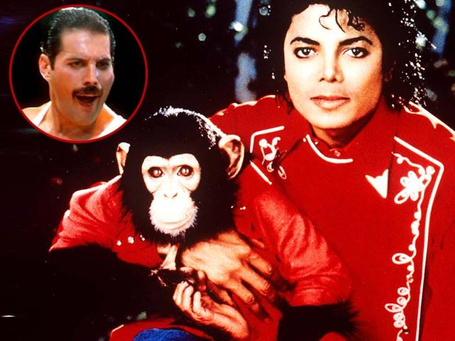 Michael-Jackson-with-his-Bubbles-the-chimp-and-Freddie-Mercury-inset-AP-Photo