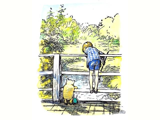 Shepard-s-drawing-of-Poohsticks-game-illustrates-Winnie-the-Pooh-playing-Poohsticks-with-Piglet-and-Christopher-Robin-Photo-poohsticks-com