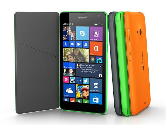 This-product-image-provided-by-Microsoft-shows-the-Lumia-535-smartphone-The-phone-is-the-first-Lumia-phone-under-the-Microsoft-brand-name-as-the-software-company-dropped-the-Nokia-brand-AP-Photo