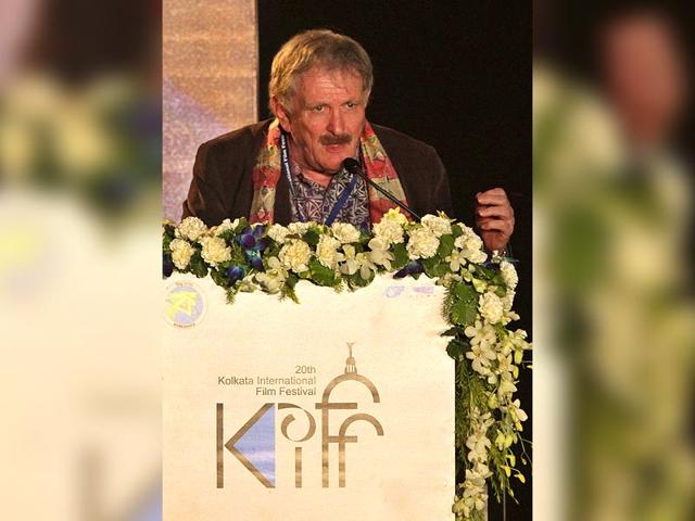 Australian-film-director-Paul-Cox-speaks-during-the-inauguration-of-the-Kolkata-International-Film-Festival-in-Kolkata-India-Monday-November-10-2014-The-festival-will-continue-till-November-27-2014-AP