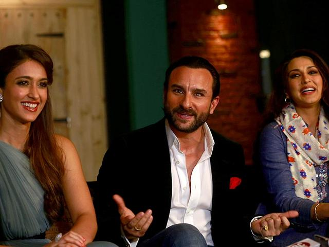 Bollywood-actors-Saif-Ali-Khan-Sonali-Bendre-and-Ileana-D-Cruz-at-a-promotional-event-for-their-film-Happy-Ending-in-Mumbai-AP-Photo-Rafiq-Maqbool