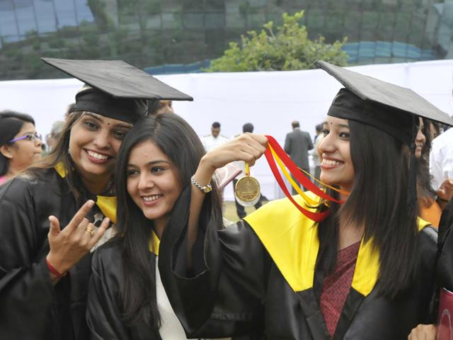 Students-flaunt-their-medals-at-the-7th-convocation-ceremony-of-National-Law-Institute-University-in-Bhopal-on-Saturday-Mujeeb-Faruqui-HT-photo