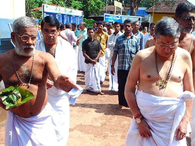 N-Srinivasan-coming-out-of-Rajarajeswari-temple-in-Kannur-district-K-Sasi-HT-file-photo