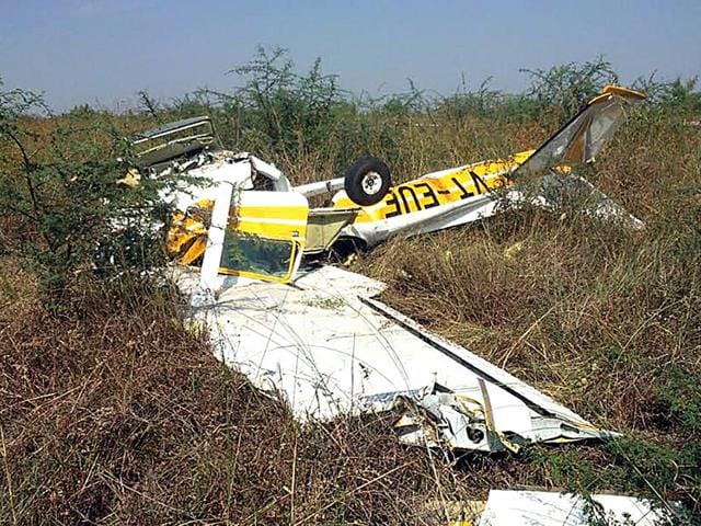 One-trainee-pilot-was-killed-and-another-seriously-injured-when-a-trainer-aircraft-of-the-Madhya-Pradesh-Flying-Club-crashed-in-Indore-on-Wednesday-Arun-Mondhe-HT-photo