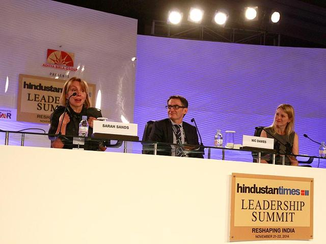 Sarah-Sands-editor-London-Evening-Standard-and-Katie-Jacob-Stanton-head-of-international-strategy-Twitter-with-Nic-Dawes-HT-s-chief-content-officer-at-the-HT-Leadership-Summit-on-Saturday-Sanjeev-Verma-HT-Photo