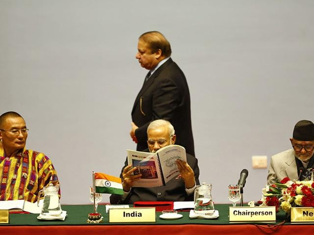 Pakistani-Prime-Minister-Nawaz-Sharif-walks-past-Prime-Minister-Narendra-Modi-during-the-18th-summit-of-the-South-Asian-Association-for-Regional-Cooperation-in-Kathmandu-Nepal-on-Wednesday-PTI-Photo