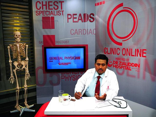Doctor-Nadim-Uddin-Siddiqui-answers-a-question-as-he-gives-health-tips-on-a-Health-TV-show-in-Karachi-AFP-Photo-Asif-Hassan