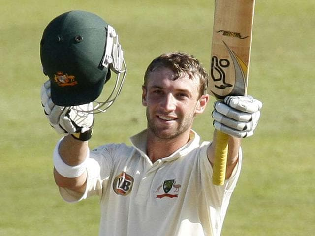 File-Australia-s-Phil-Hughes-celebrates-his-century-during-the-third-day-of-the-second-cricket-Test-match-against-South-Africa-in-Durban-Reuters-photo