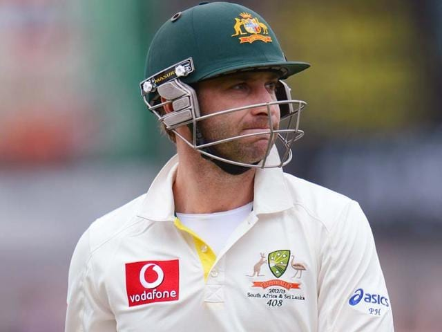 File-Australian-batsman-Phil-Hughes-reacting-after-he-was-dismissed-by-Sri-Lanka-on-the-first-day-of-the-first-cricket-Test-match-in-Hobart-AFP-photo