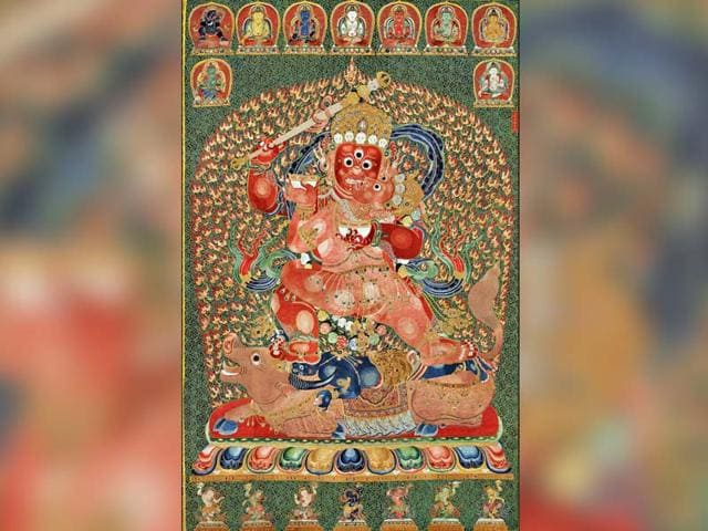 This-handout-picture-taken-on-November-27-2014-and-released-by-Christies-auction-house-shows-a-600-year-old-Tibetan-embroidered-artwork-called-thangka-AFP-photo