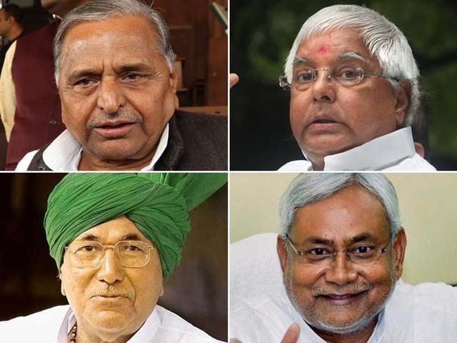 A-combo-picture-of-Mulayam-Singh-Yadav-Samajwadi-Party-Lalu-Prasad-Rashtriya-Janata-Dal-Om-Prakash-Chautala-Indian-National-Lok-Dal-and-Nitish-Kumar-Janta-Dal-United