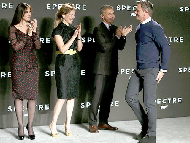 The-24th-James-Bond-film-now-has-a-name-Spectre-Bond-fans-know-Spectre-as-the-global-terrorist-organization-from-classic-Bond-films-the-name-is-an-acronym-for-all-things-obviously-evil-Special-Executive-for-Counter-intelligence-Terrorism-Revenge-and-Extortion-The-name-was-revealed-during-a-livestreamed-announcement-event-Here--actors-Lea-Seydoux-Daniel-Craig-and-Monica-Bellucci-pose-during-the-event-in-London-Reuters