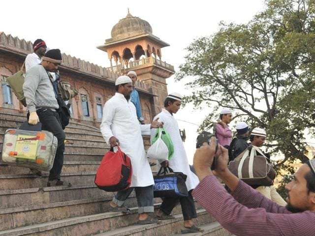 Muslim-devotees-at-Tajul-Masajid-on-their-way-to-attend-Ijtima-at-Eintkhedi-near-Bhopal-on-Friday-Praveen-Bajpai-HT-photo
