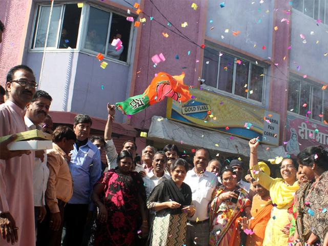 BJP-workers-celebrate-the-party-s-victory-in-municipal-elections-at-the-party-office-in-Indore-on-Sunday-Shankar-Mourya-HT-photo