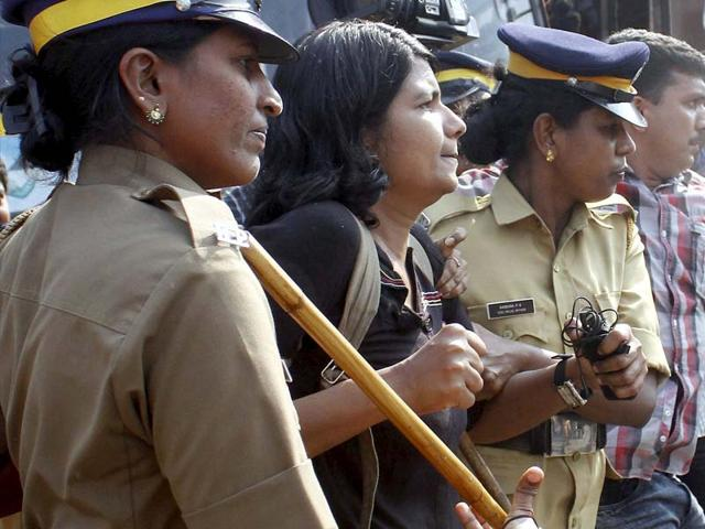 Police-arrest-people-protesting-against-moral-policing-in-Kozhikode-on-Sunday-PTI-Photo