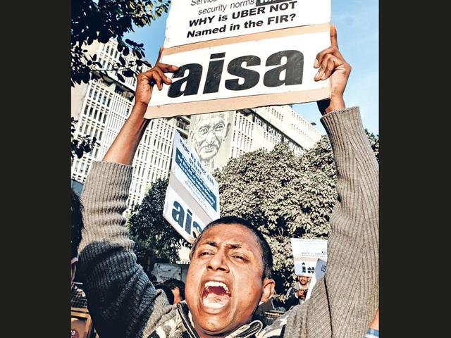 Activists-from-All-India-Students-Association-AISA-shout-slogans-against-Delhi-Police-protesting-the-rape-of-a-woman-by-a-cab-driver-in-New-Delhi-on-Sunday-Sonu-Mehta-HT-photo