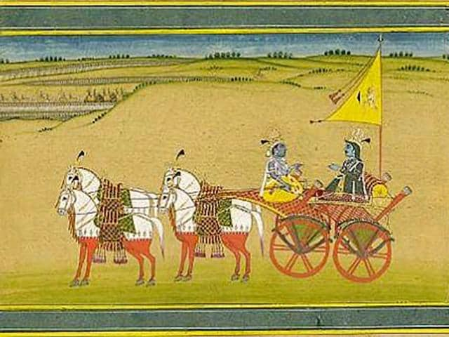 A-painting-illustrating-Lord-Krishna-and-Arjuna-Bhagavad-Gita-is-considered-what-Krishna-advised-Arjuna-during-the-Kurukshetra-war-Photo-Wiki-Commons