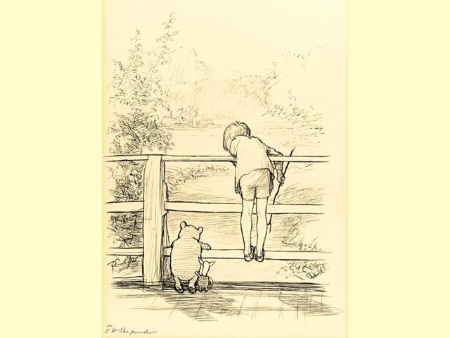 E-H-Shepard-s-original-ink-drawing-of-Winnie-the-Pooh-Christopher-Robin-and-Piglet-on-the-Poohsticks-bridge-Photo-AFP
