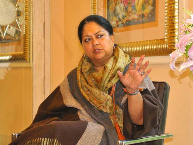 Rajasthan-Chief-Minister-Vasundhara-Raje-in-an-interview-with-HT-after-completing-one-year-in-office-Prabhakar-Sharma-HT-photo