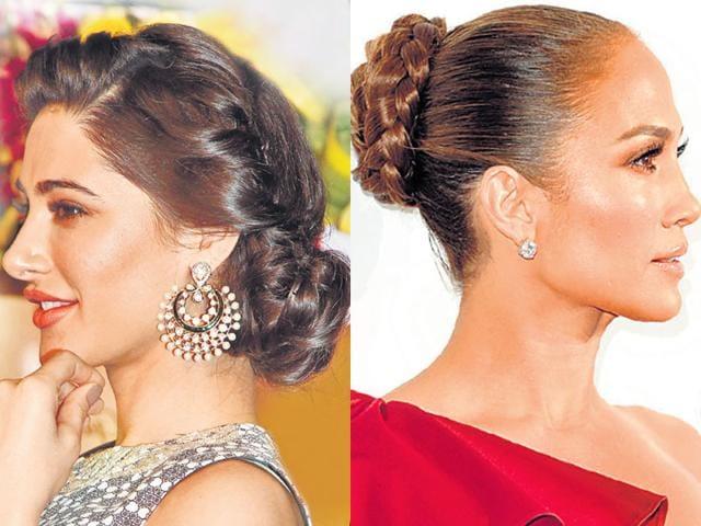 Actor-Nargis-Fakhri-looks-gorgeous-in-a-twisted-bun-L-Jennifer-Lopez-rocks-a-braided-bun-R