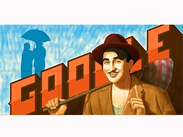 raj kapoor,raj kapoor doodle,raj kapoor 90th anniversary
