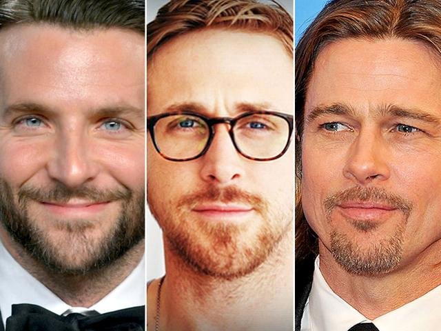 Hollywood-actors-Bradley-Cooper-Ryan-Gosling-and-Brad-Pitt-left-to-right-have-experimented-with-their--facial-hair--in-2014-and-shown-men-the-way-to-sexy-beards-Agencies