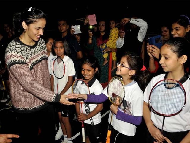 Ace-badminton-player-Saina-Nehwal-meets-budding-badminton-players-in-Bhopal-on-Tuesday-Praveen-Bajpai-HT-photo