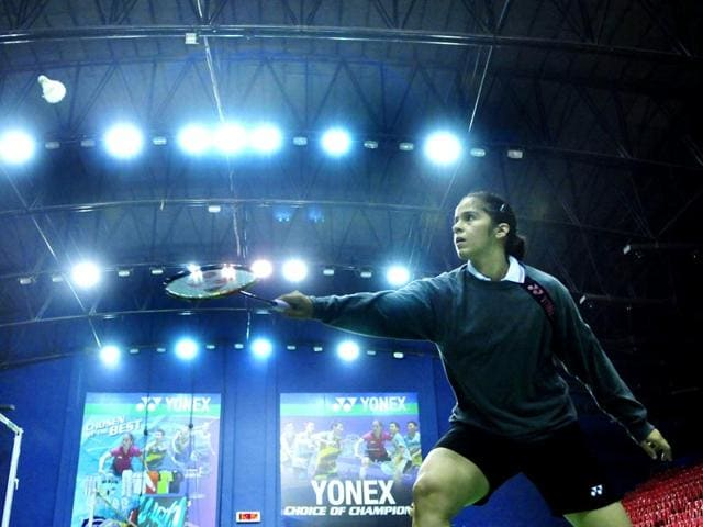 World-s-number-four-badminton-player-Saina-Nehwal-meets-a-budding-player-in-Bhopal-She-is-in-the-city-to-attend-the-Khel-Alankaran-Samaroh-Praveen-Bajpai-HT-photo