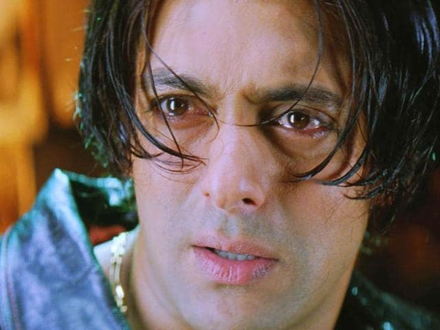 Salman Khan in a still from Tere Naam.