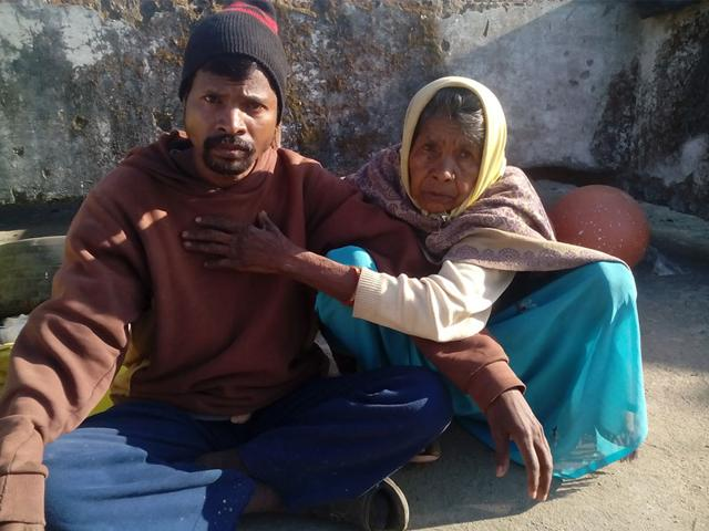 Budhram-Marko-with-his-mother-at-his-home-in-Dindori-on-Tuesday-HT-photo