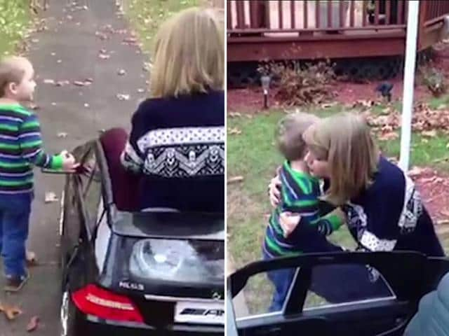 Taylor-Swift-hugging-a-kid-to-whom-she-gifted-a-miniature-motor-car-for-Christmas