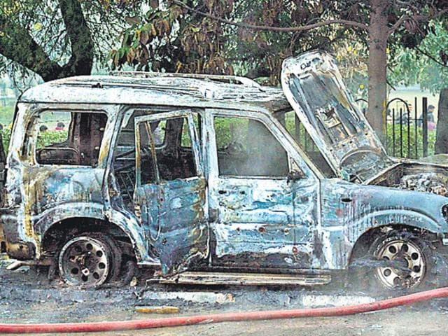 AAP-nominee-Sahi-Ram-s-vehicle-was-torched